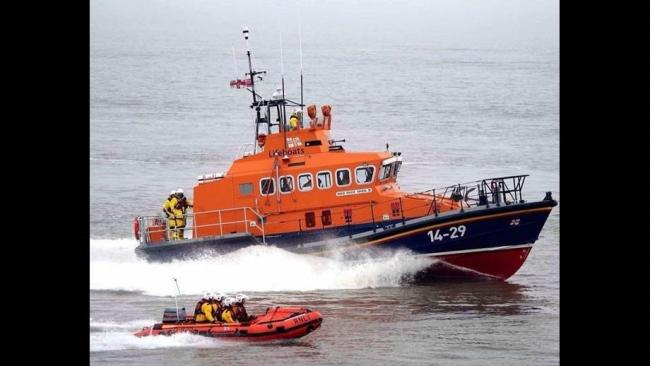 Teams from Penarth, Portishead and Barry helped rescue the family with the help of the Barry all-weather lifeboat. Picture: RNLI/Nicholas Leach