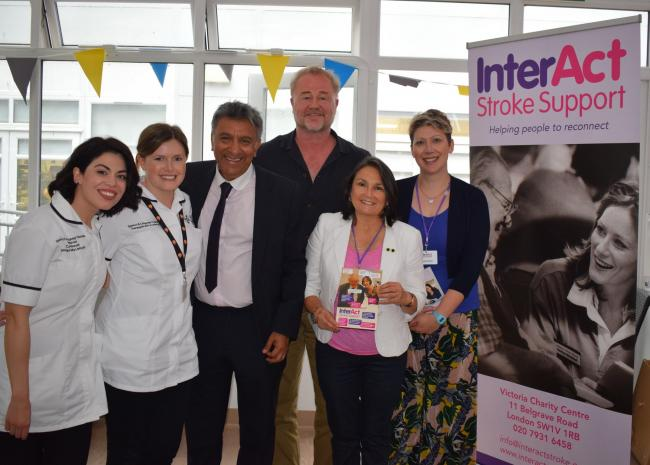 From left: speech and language therapists Flora Katsimigkou and Tabitha Mansel-Thomas, Nirjay Mahindru, chief executive of InterAct, Owen Teale, Emma D'Inverno and Branwen Davies of InterAct