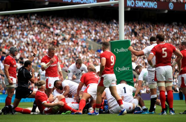 TRY TIME: Billy Vunipola crashes over for England