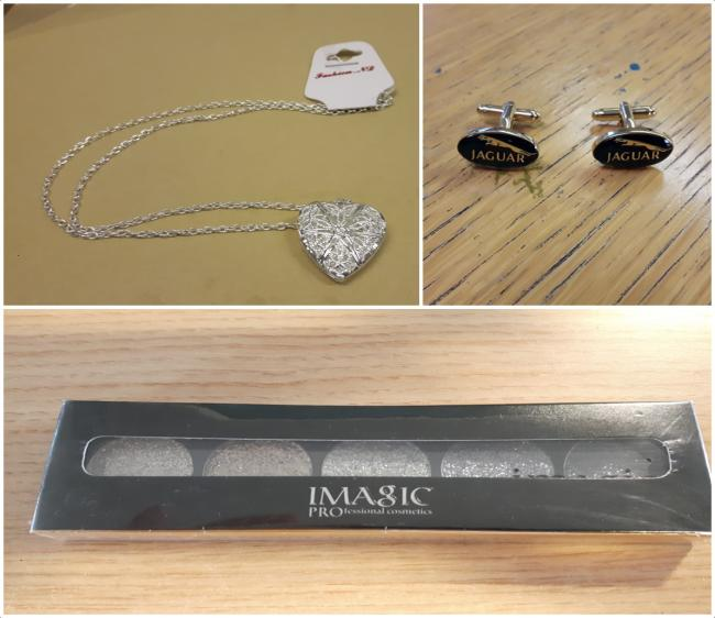 Clockwise from top left: A fake 'silver' necklace, counterfeit cufflinks and unsafe cosmetics