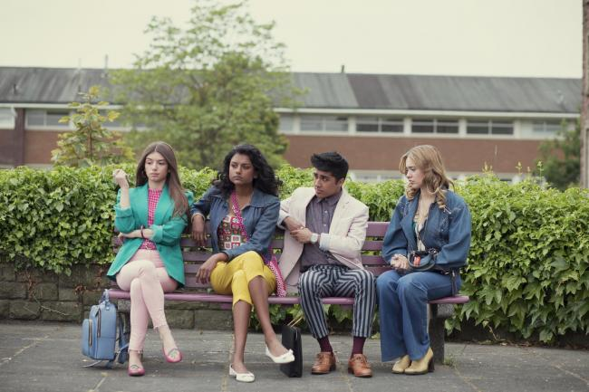 Aimee Lou Wood, Mimi Keene, Simone Ashley, and Chaneil Kular in Sex Education (2019) Picture: Sam Taylor/Netflix