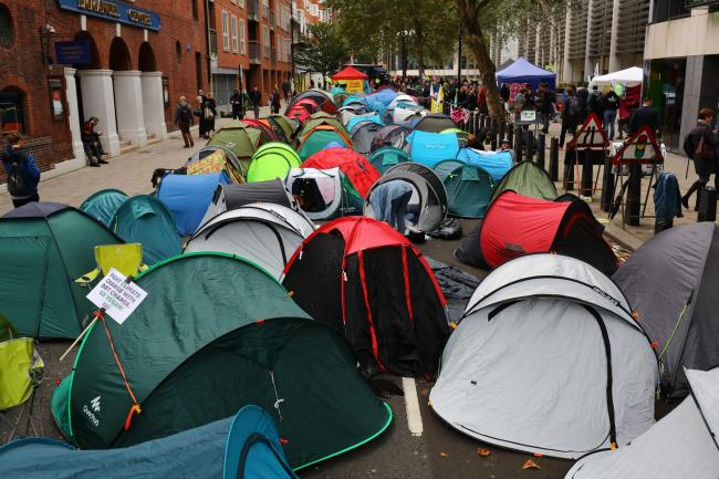 The Extinction Rebellion camp in Marsham Street, Westminster