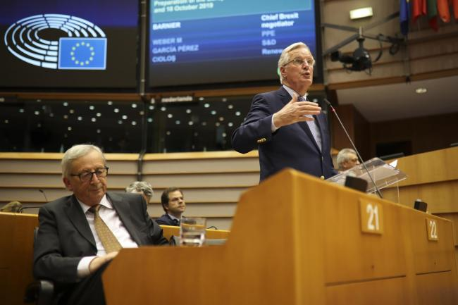 EU chief negotiator Michel Barnier at the European Parliament in Brussels