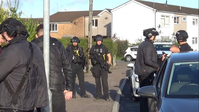 Armed Police around Redlands Road, Penarth. Picture: Rightful Recordings