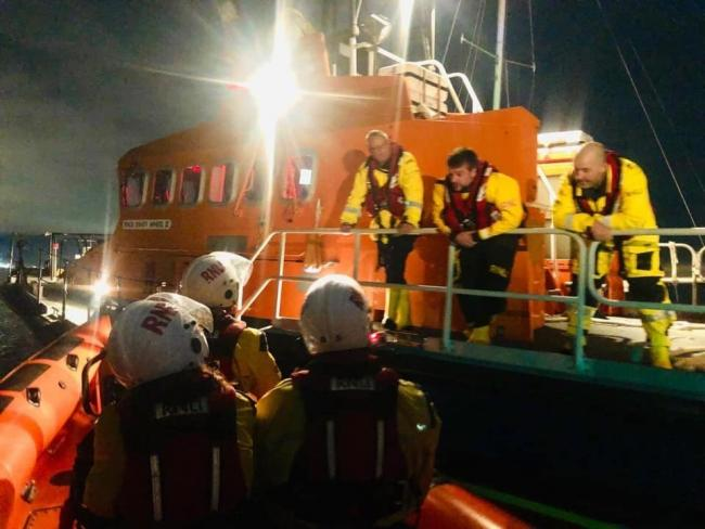 Penarth RNLI arrive to assist neighbouring crews with a stranded yacht. Picture: RNLI