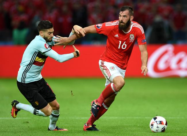 STAR: Joe Ledley in action for Wales against Belgium's Yannick Carrasco in the Euro 2016 quarter-final