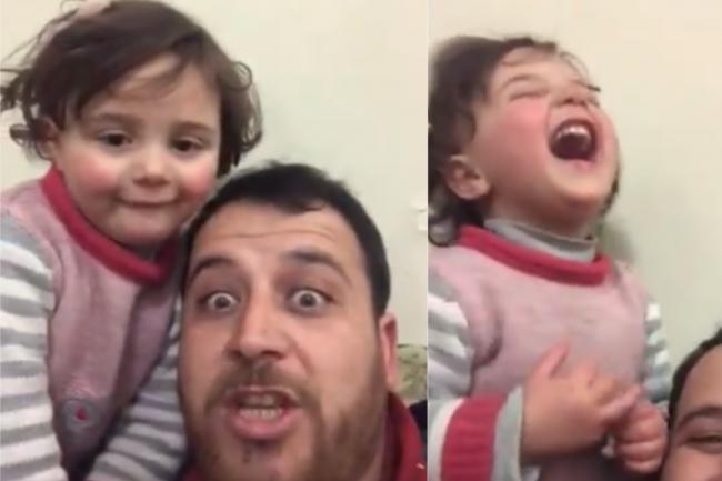 Syrian father teaches four-year-old daughter to laugh when bombs fall outside