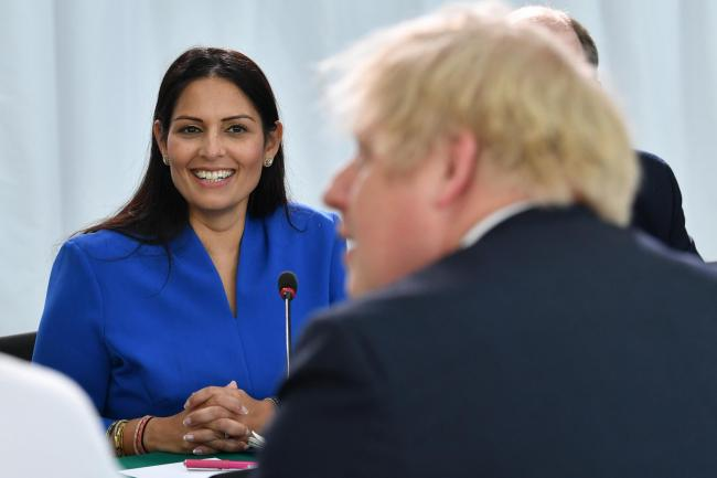 Home Secretary Priti Patel with Prime Minister Boris Johnson