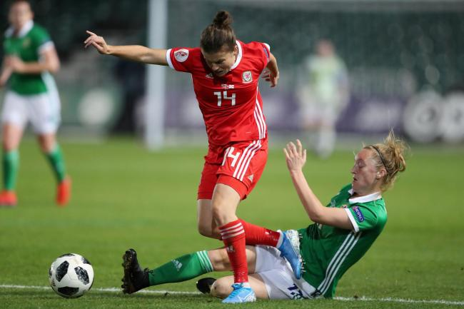 FLASHBACK: Hayley Ladd in action for Wales in a Euro 2021 qualifier against Northern Ireland at Rodney Parade in September