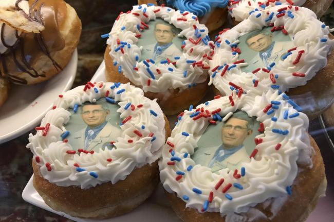 Doughnuts bearing the likeness of Dr Anthony Fauci, director of the National Institute of Allergy and Infectious Diseases