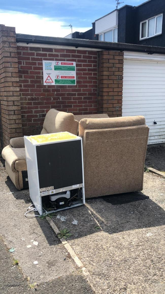 Fly-tipping under a 'No Fly-tipping' sign in Gibbonsdown, Barry. Pic: Vale of Glamorgan Council enforcement
