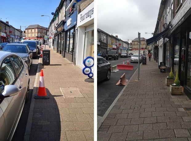 Penarth Times: Glebe Street last Tuesday (left) and this Tuesday (right)