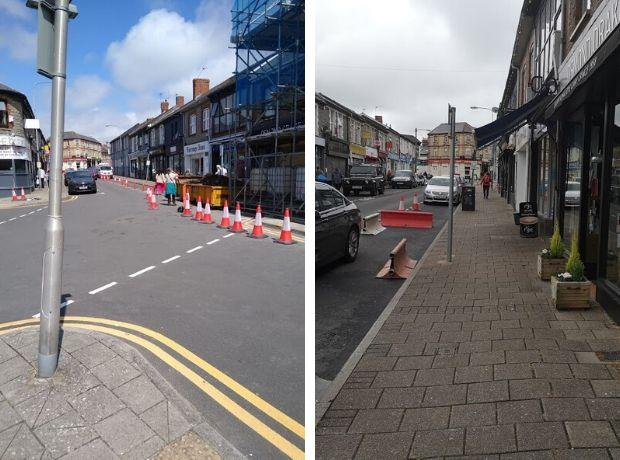 Penarth Times: Glebe Street two weeks ago (right), compared to now