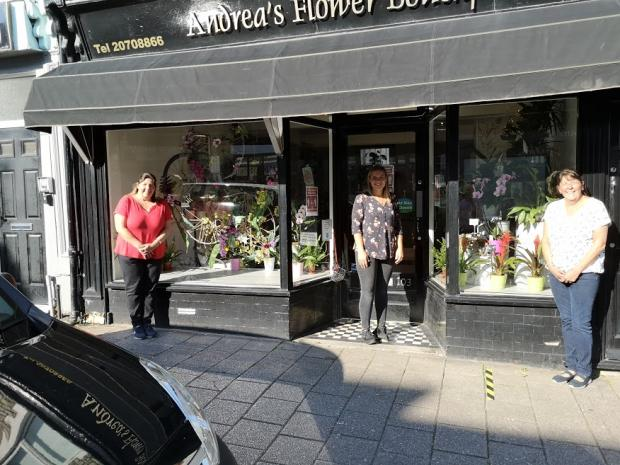 Penarth Times: (Left to right): Karen Hatton, Ceri McCann and Rachel Came at Andrea's Flower Boutique, Glebe Street