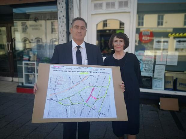 Penarth Times: Joan and Tony Paines have made a blown up version of the main town area, so people can better understand the ideas.