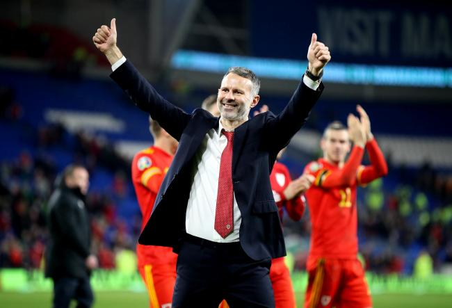 Wales' manager Ryan Giggs celebrates victory and qualification after the UEFA Euro 2020 Qualifying match at the Cardiff City Stadium..