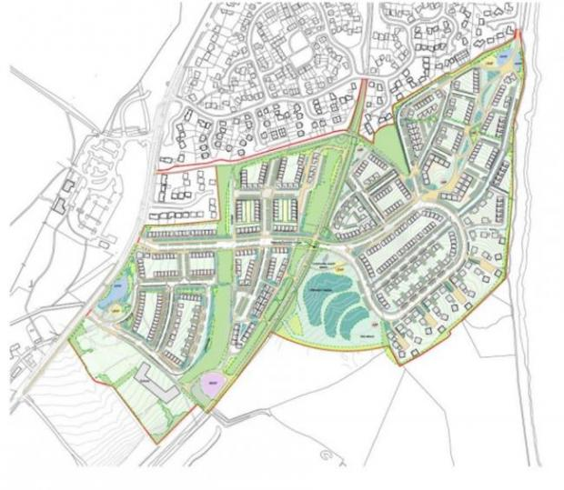 Penarth Times: The plan for the Cosmeston development, with the additional development in colour. Picture: ASBRI Planning
