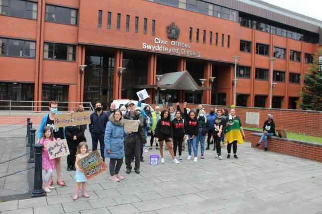 In July 35 people staged a protest outside the Civic Offices in Barry