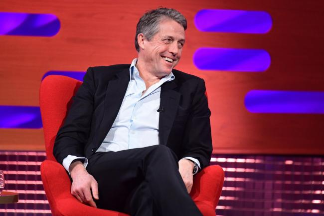 Hugh Grant during filming for the Graham Norton Show