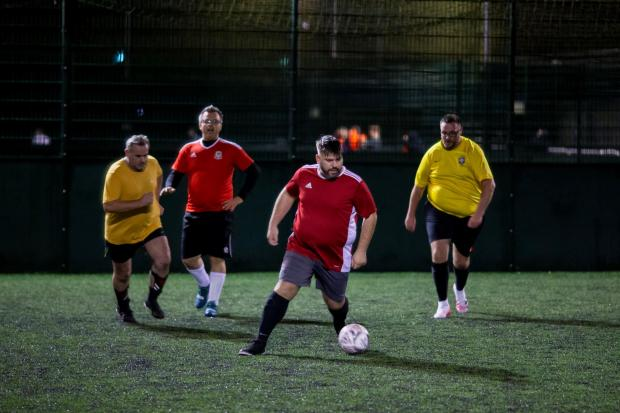 Players taking part in a Man v Fat Football six-a-side match. Picture: Man v Fat Football