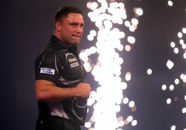 Gerwyn Price celebrates winning the final against Gary Anderson in the William Hill World Darts Championship at Alexandra Palace