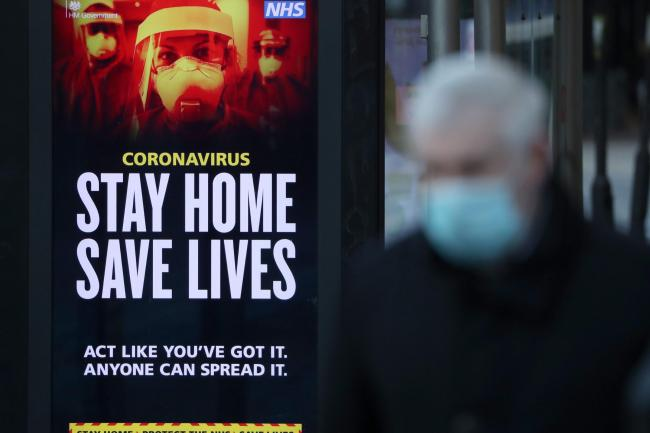 Coronavirus sign in high street