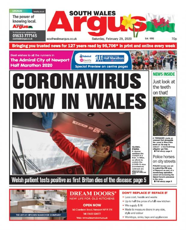 Penarth Times: How the South Wales Argus reported the first case of coronavirus in Wales.