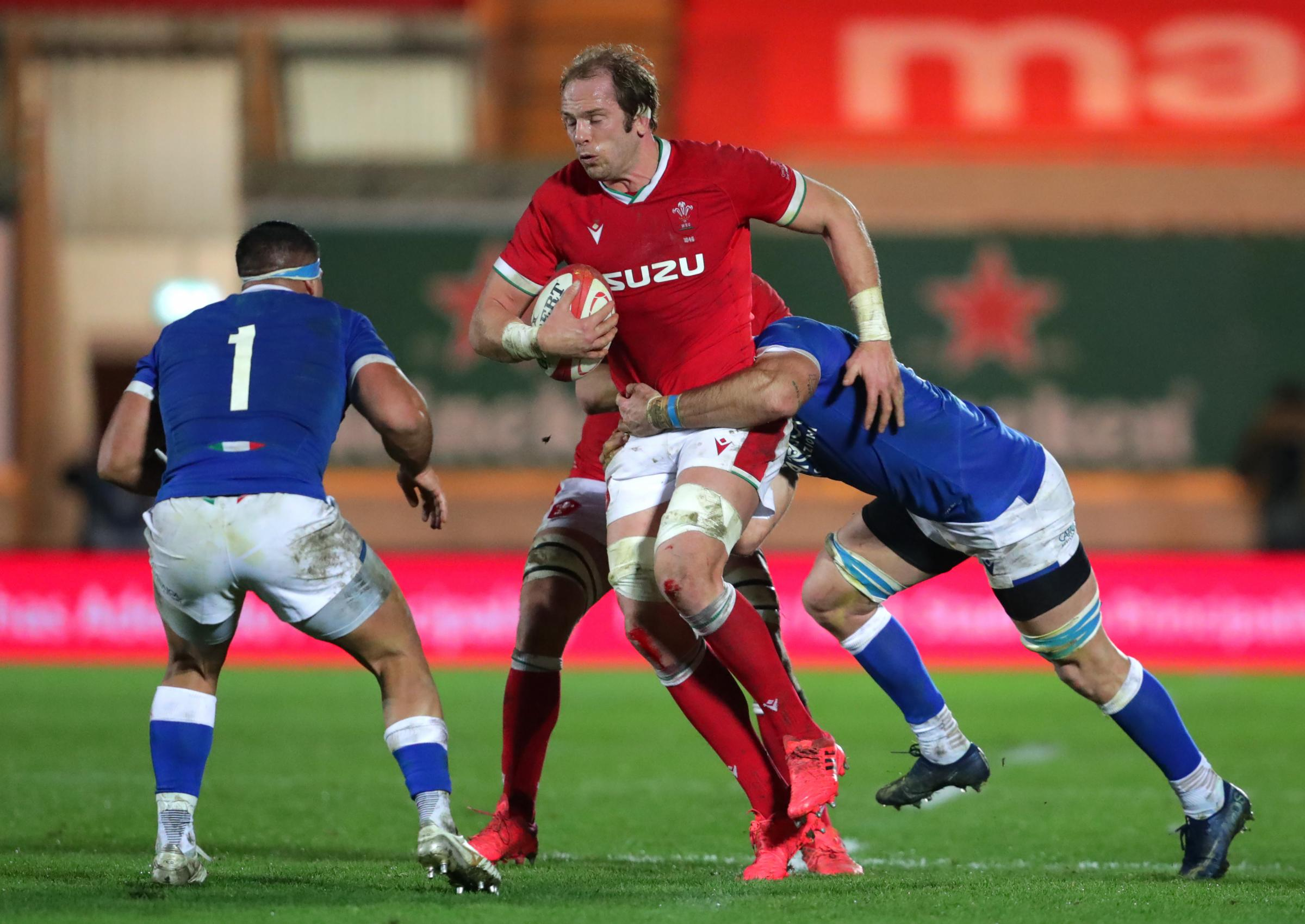 Wales Alun Wyn Jones tackled by Italys Braam Steyn during the Autumn Nations Cup match at Parc y Scarlets, Llanelli.