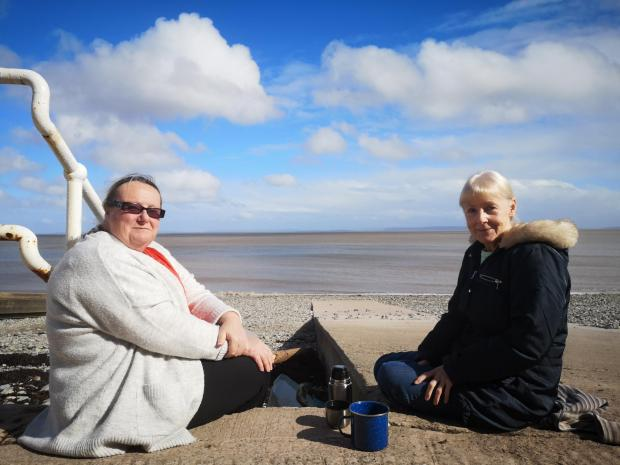 Penarth Times: Tracey Scott and Debra Cooper, at Penarth seafront on Friday