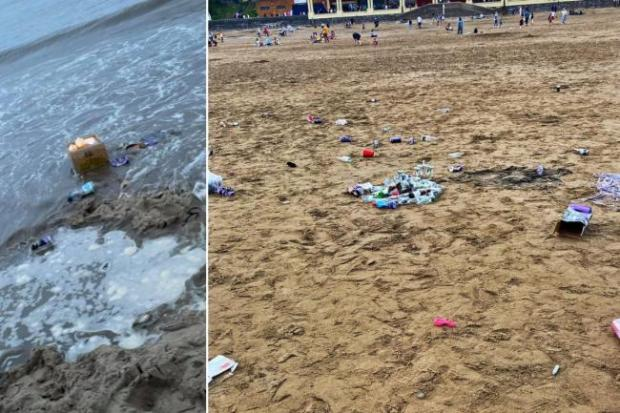 Penarth Times: Litter left on Barry Island (Left picture: Amy Rae Pugh)