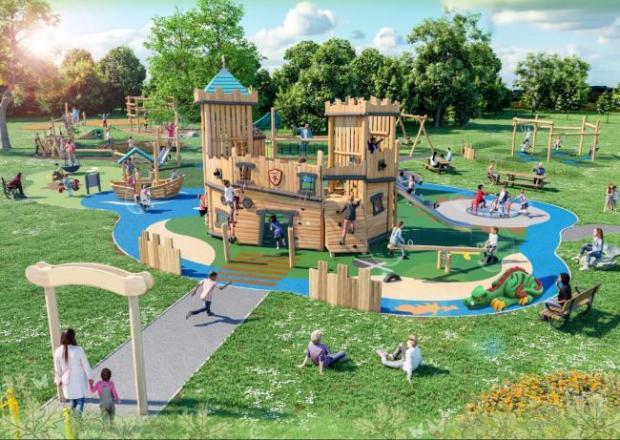 Penarth Times: Cosmeston play area refurbishment sketch from last year
