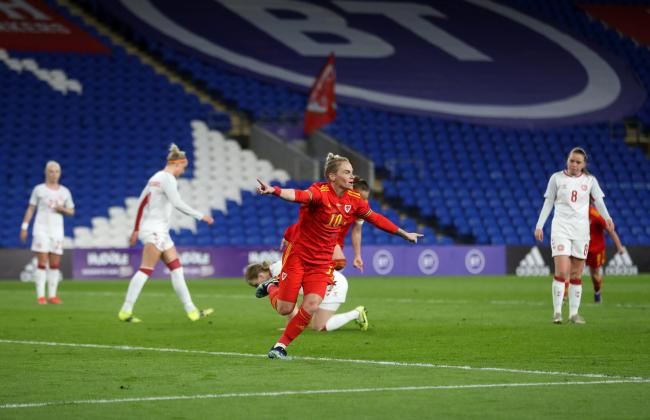CELEBRATION: Jess Fishlock fired home for Wales