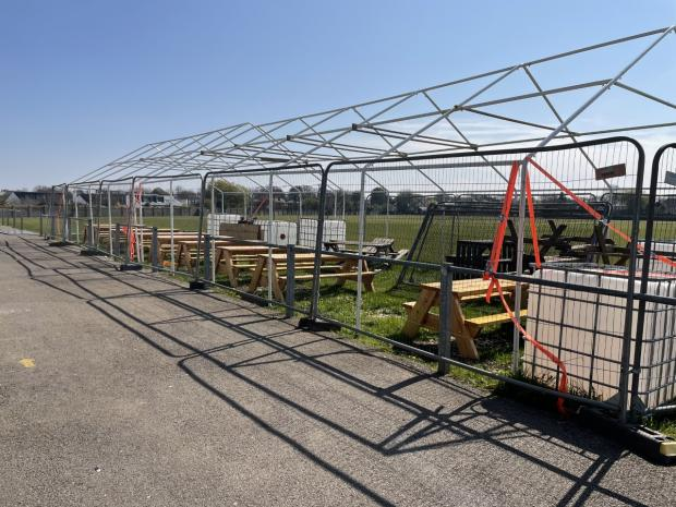 Penarth Times: The pub garden is being prepared for Monday