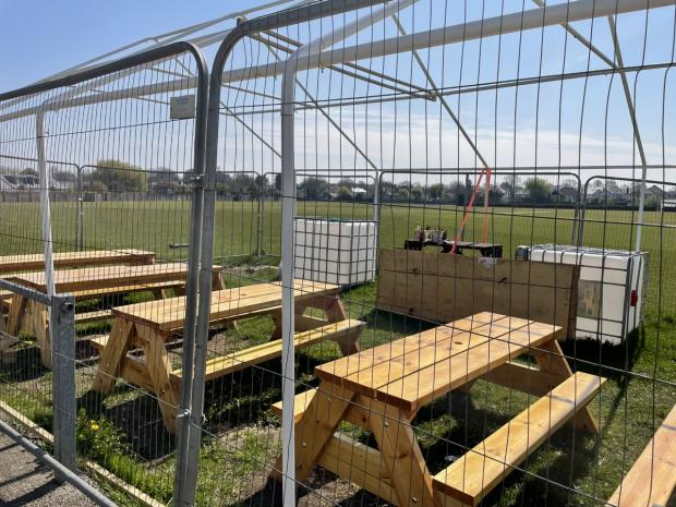 Penarth Times: The benches were made by the rugby club members