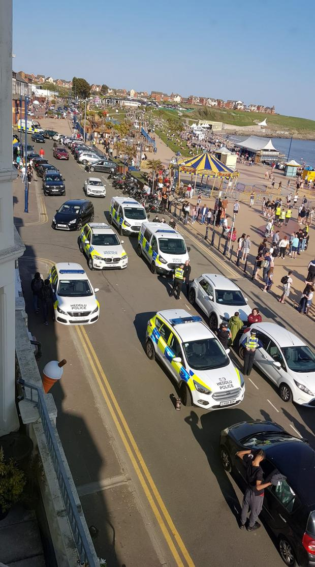 Penarth Times: Police presence at Barry Island. Credit: Colin Edmunds