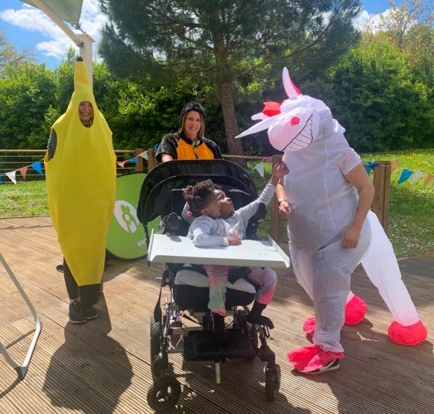 Penarth Times: Team Ty Hafan Unicorn, Banana and twins Marieme and Ndeye