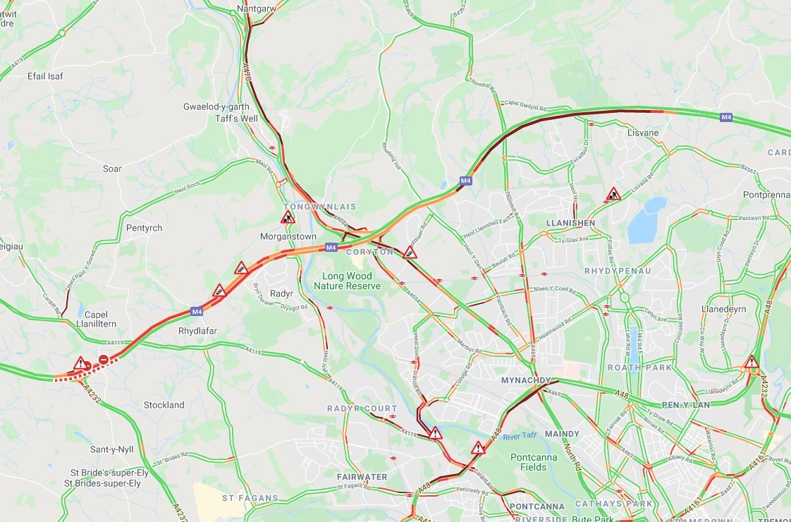Traffic delays following the crash outside Cardiff. Picture: AA.
