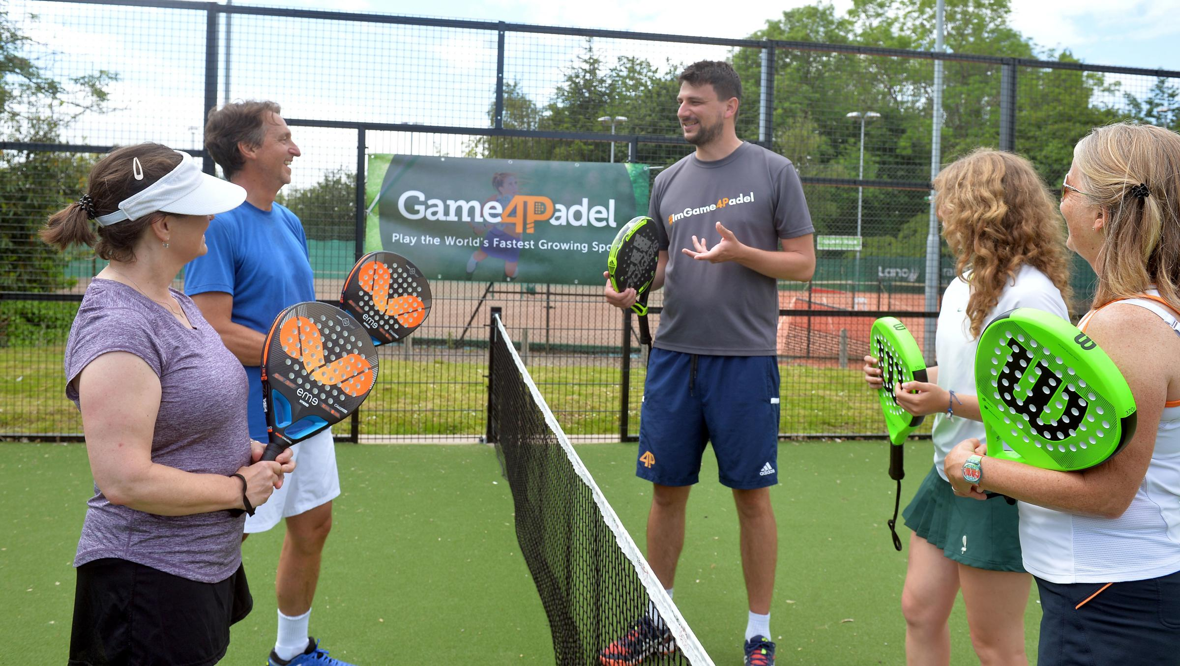 Padel lessons on the firt court in Wales from Vincent Hivert for members of the Windsor Lawn Tennis Club in Penarth www.christinsleyphotography.co.uk