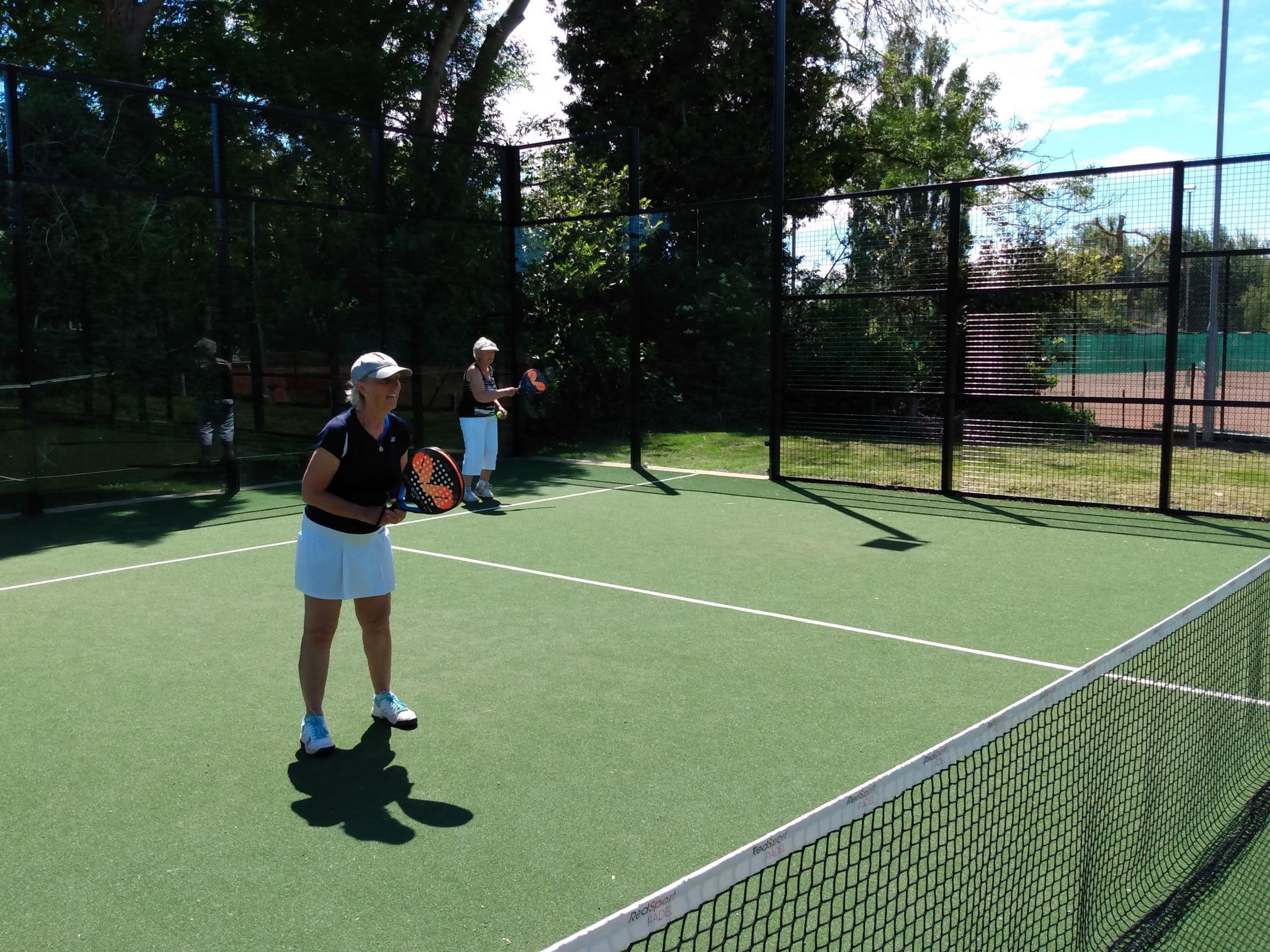 Edwina Gill (left) and Barbara Dawes playing Padel Tennis at Windsor Lawn Tennis Club in Penarth.