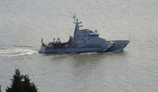 BORDER CONTROL: The HMC Senitel was in Penarth waters last week.