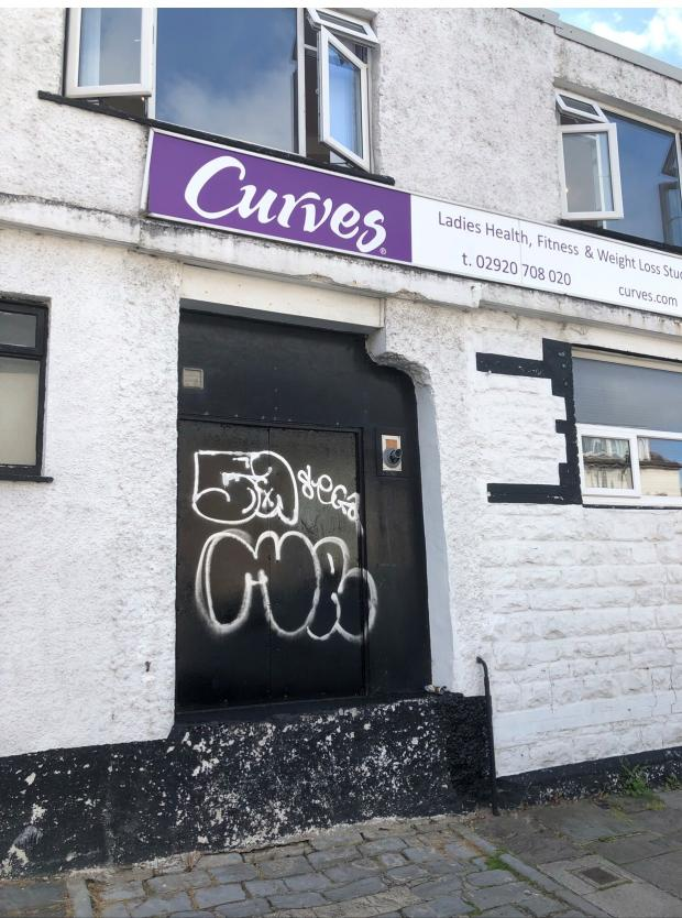 Penarth Times: The door of Curves Women's Gym was vandalised for the second time in the past few months