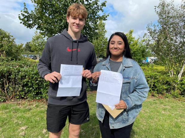 Penarth Times: (L) Lucas Follon and (R) Radhiya Islam looking pleased with their results!