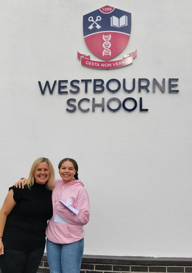 Penarth Times: Pupil Lilian Yearwood with Westbourne GCSE Coordinator Mrs Jodi Barber