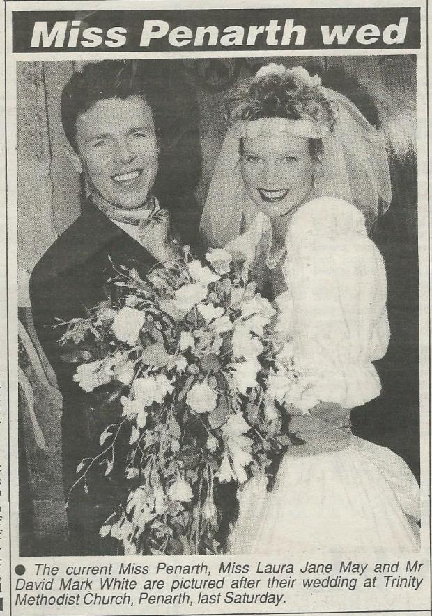 Penarth Times: Mr & Mrs White were featured in the Penarth Times after getting married at Trinity Methodist Church