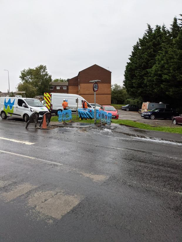 Penarth Times: Welsh Water were out for hours repairing the water main. Picture: Martin Chorley