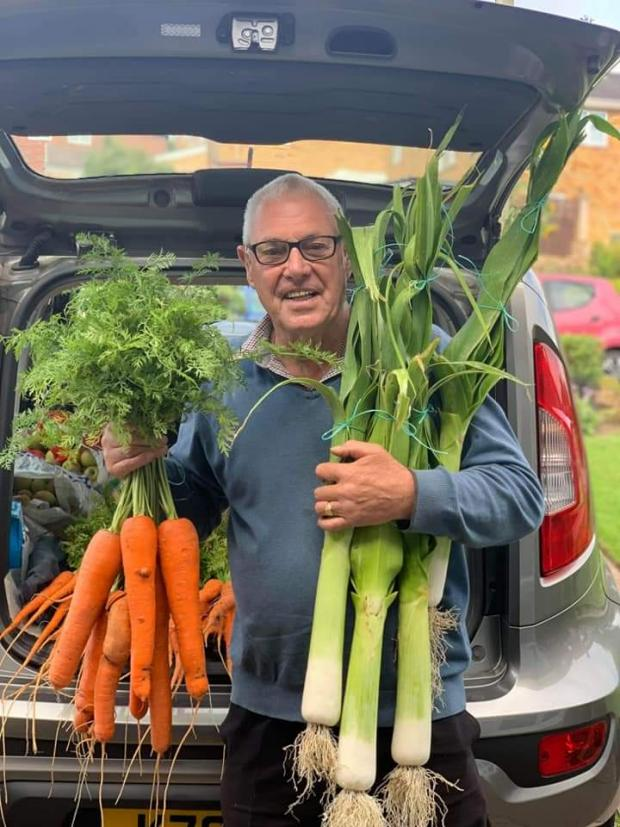 Penarth Times: Cecil Townsend with his array of giant vegetables he grows each year