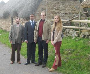CONCERNED: The medieval village at Cosmeston is under threat, to the concern of AM Vaughan Gething (second from left), professor John Hines (second from right) and Dr Paula Jones.