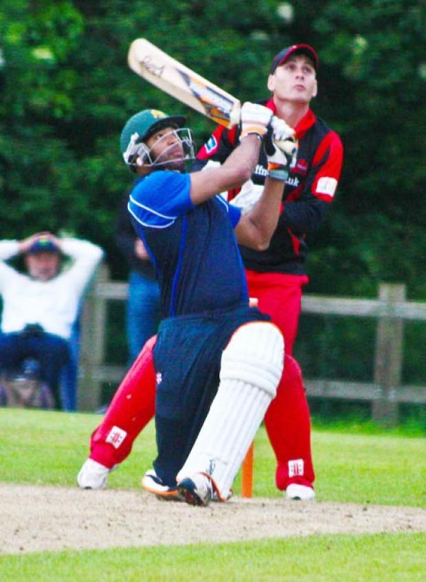LOFTY HIT: Dispatching Robert Croft for a straight six, on his way to an unbeaten 105, Centurions batsman Lloyd Smith showed scant regard to the County bowlers as he played for a SWALEC Premier Select XI. Pictures: Dave Shields / www.devilgas.com