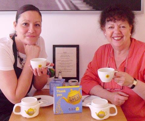 TEA PARTY: Catherine and Lorraine tasting the tea ready for the day!