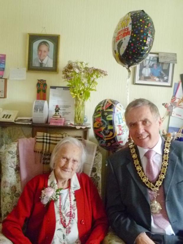 SPECIAL DAY: Margaret Hilson, pictured with town mayor Cllr Philip Rapier, was 102 on July 6.